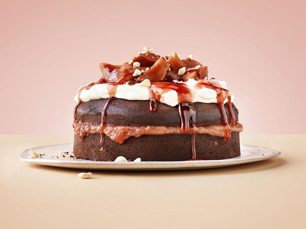 foodstyling ztrd elleeten chocoladetaart stoofperen