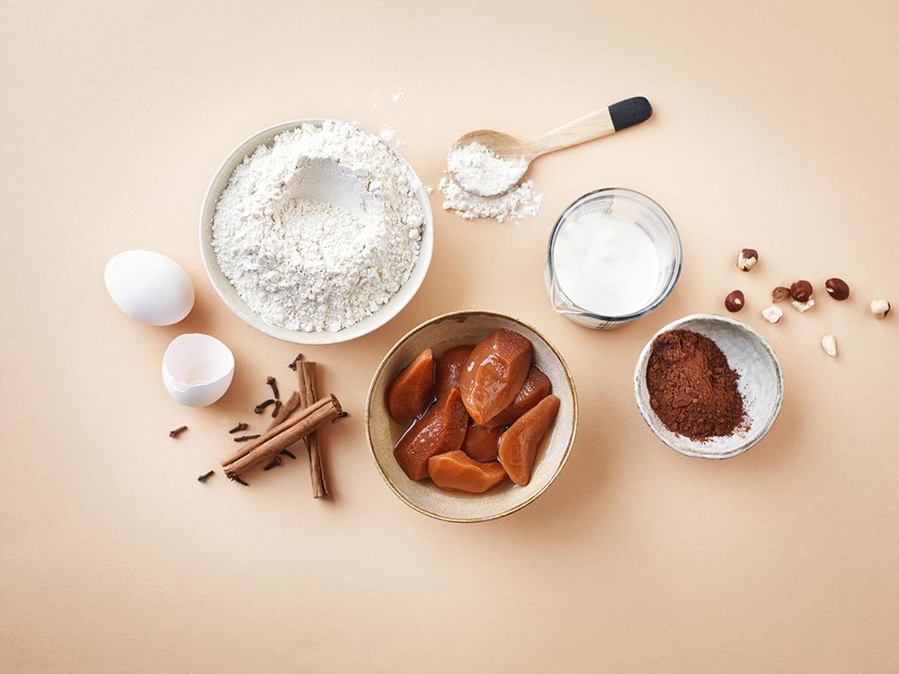 foodstyling ztrd elleeten chocoladetaart stoofperen ingrediënten
