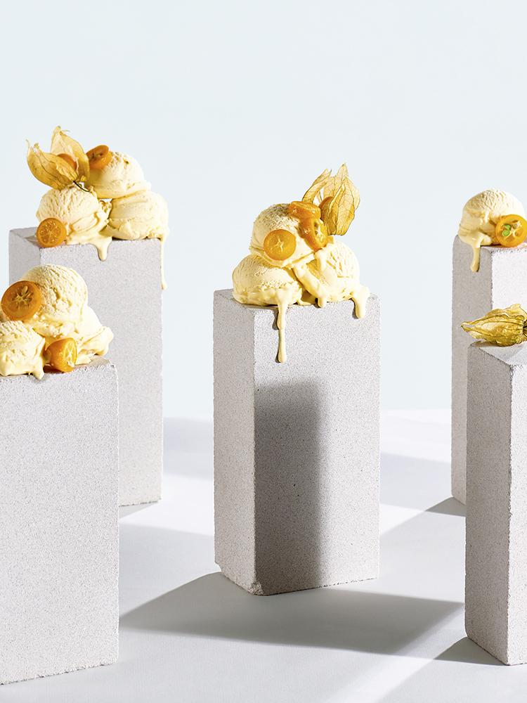 foodstyling receptontwikkeling ijs kaapse bes kumquat nepijs