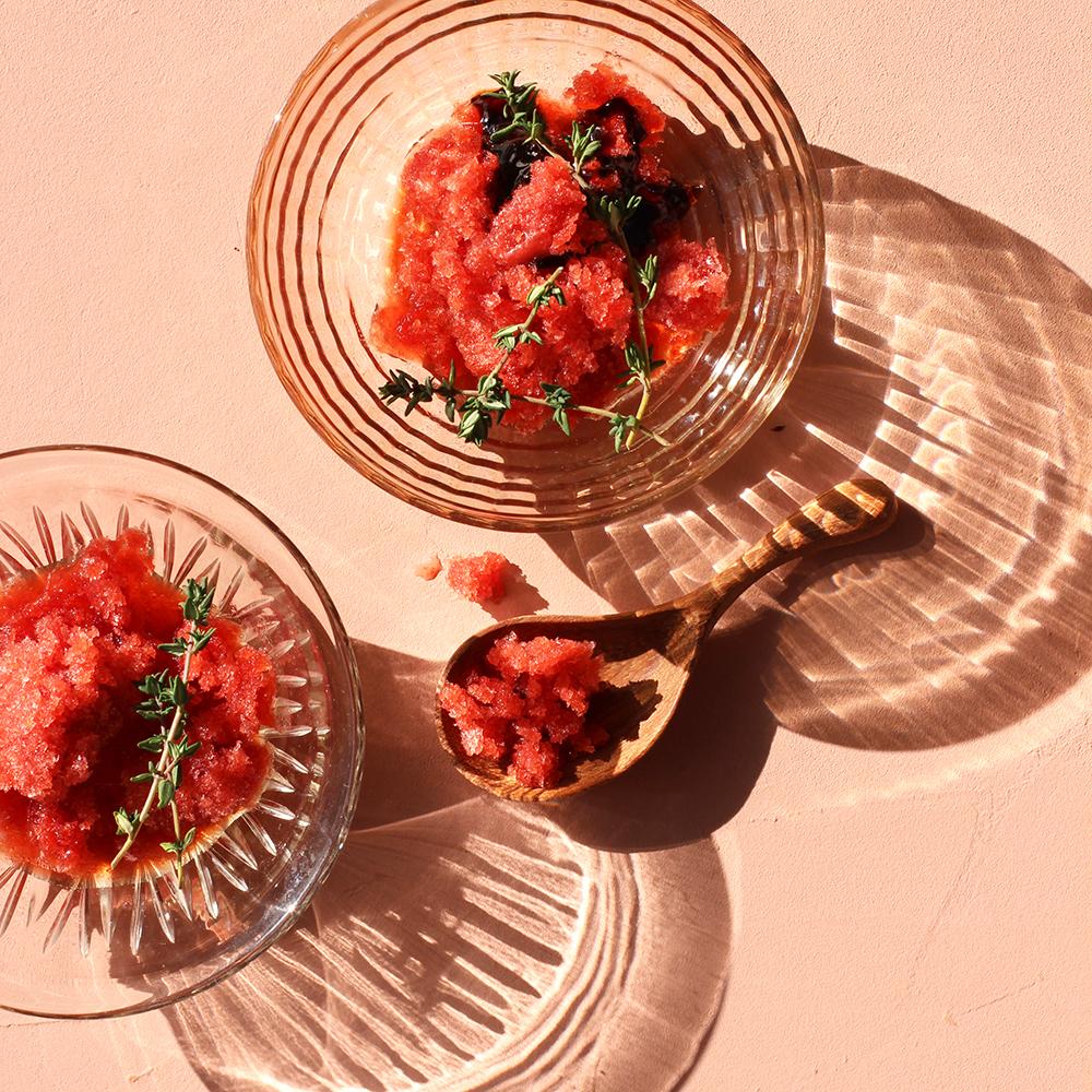 foodstyling granita tijm balsamico-siroop schaduwspel