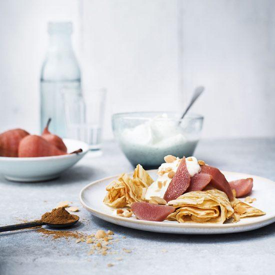 foodstyling receptontwikkeling pannenkoeken kookboek postcodeloterij stoofperen