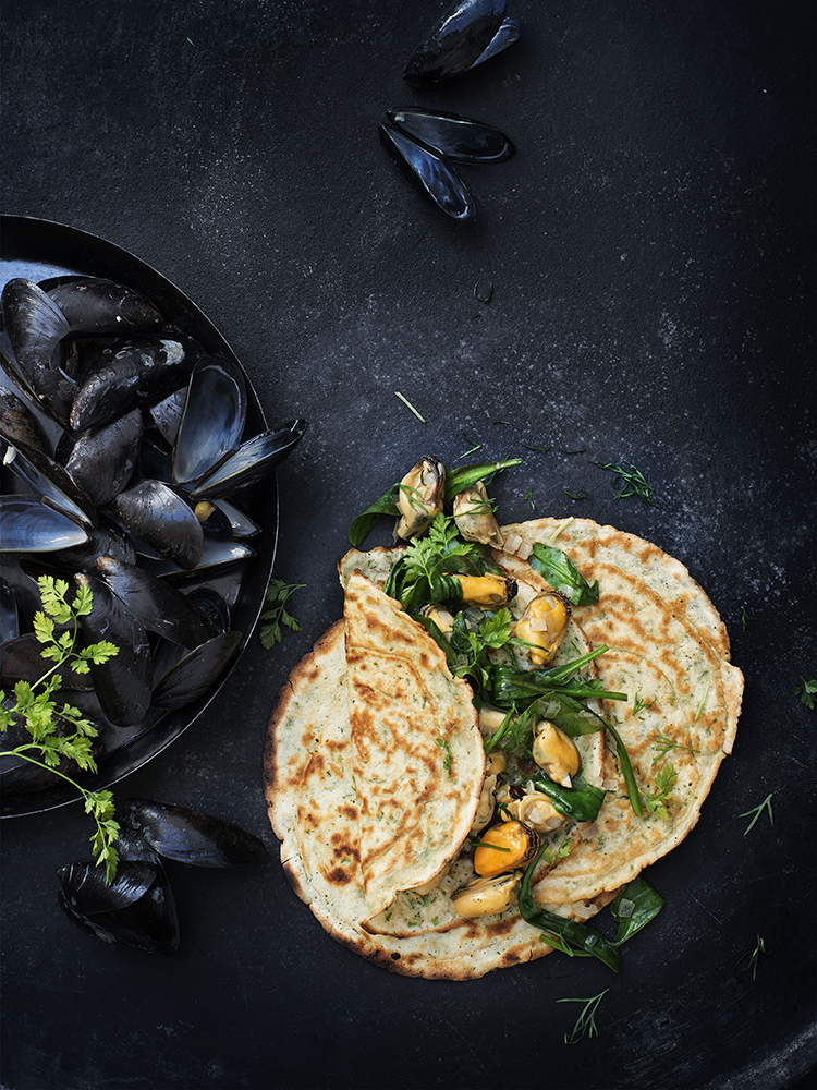 foodstyling receptontwikkeling pannenkoeken kookboek postcodeloterij mosselen